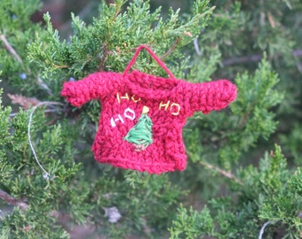 Ugly Sweater Ornament, Embroidered Mini Sweater Ornament, Christmas Tree Ornament, Gifts for Family