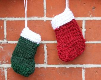 Set of 2 Mini Stocking Ornaments - Personalized Knit Stocking Ornament for Christmas Tree - Ornament Set