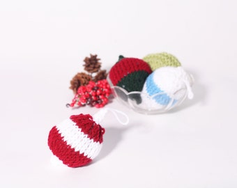 Bauble Ornament, Red and White, Stuffed Ornament, 3D for Christmas Tree, Knit Bauble, Ball Ornament