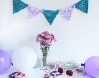 Baby Room Decoration, Crochet Bunting, Custom and Personalized Party Banner Decoration, Purple and Blue, Handmade Party Decoration
