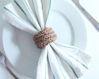 Wedding Napkin Rings - Bulk Napkin Rings - Knit Napkin Rings - Sets of 25, 50 or 100 Knit Napkin Rings - Wooden Knit Napkin Ring Sets
