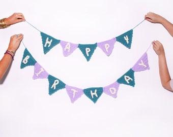 Birthday Party Sign, Crochet Party Banner, Birthday Bunting, Personalized First Birthday, Triangle Birthday Decoration, Happy Birthday