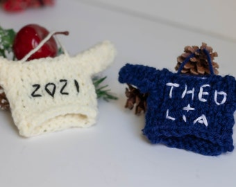 Personalize Family Ornament Gift, Christmas Tree Decoration 2020, Wedding Anniversary Gift, Embroidered Mini Sweater, Ornament Exchange