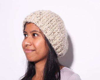 Wool Knit Beanie - Oatmeal Knit Hat for Men and Women - Machine Washable Knit Hat