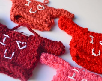Valentine's Day Knit Decoration, I Heart You Embroidered Mini Sweater, Gifts for Family, Design Your Own