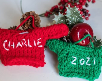 Personalize Family Ornament, Christmas Tree Decoration 2020, Wedding Anniversary Gift, Embroidered Mini Sweater, Ornament Exchange