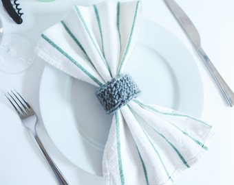 Wedding Garter Napkin Rings - Bulk Order Knit Napkin Rings - Sets of 25, 50 or 100 Knit Wedding Napkin Rings - Wooden Knit Napkin Ring Sets