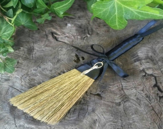 Witches altar broom with Goddess charm