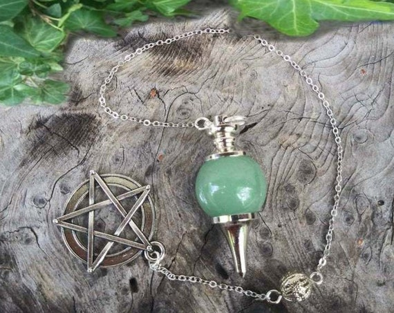 Green Aventurine Pendulum, Dowsing Pendulum, Crystal Pendulum, Dowsing, Pendulums, Divination, Witchcraft, Witchcraft Supply