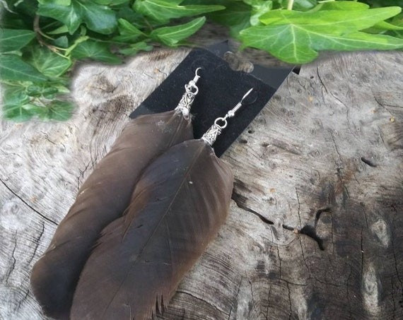 Short Crow Feather Earrings, Crow Feather Earrings, Earrings Handmade, Feather Jewellery, Feather Earrings, Crow Feather, Witchcraft