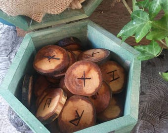 Celtic Runes Set, Viking Runes, Apple Runes,  Wooden Runes, Elder Futhark Runes, Rune Set, Druid