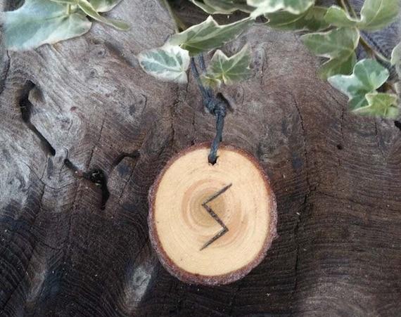 Sowilo Rune Pendant, Cedar Rune Necklace