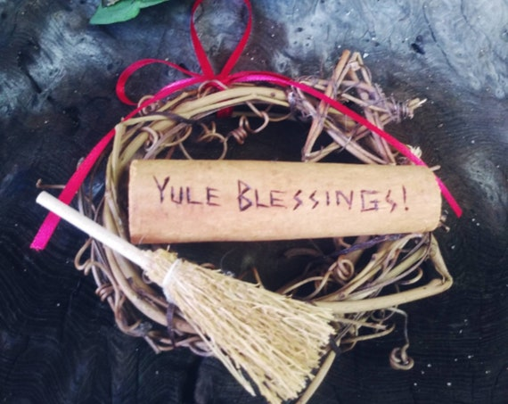 Yule Blessings Small Rustic Wreath