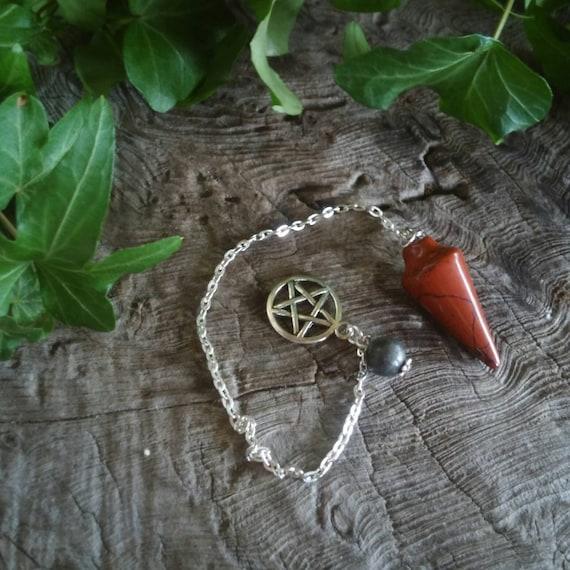 Dowsing Pendulum - Red Jasper Pendulum - Crystal Pendulum - Chakra Pendulum