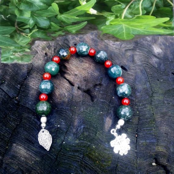 Green Man Beads, Prayer Beads Wiccan