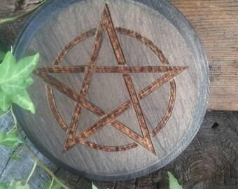 Altar Pentacle - Altar Tile - Altar Paten - Wiccan Altar - Pentacle Altar - Black Altar Paten