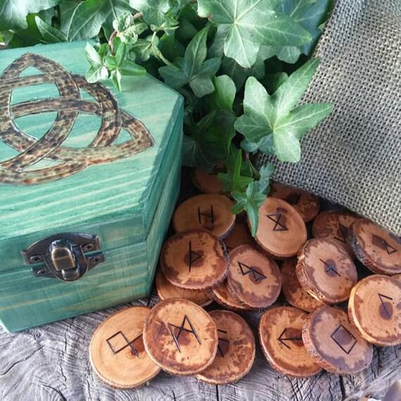 Celtic Runes Set, Viking Runes, Apple Runes,  Wooden Runes, Elder Futhark Runes, Rune Set