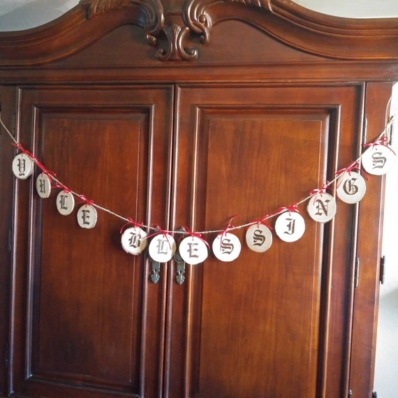 Primitive Folk Art Yule Bunting, Yule Blessings, Unique Gifts