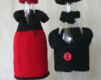 Lady Bug Couple -- Wine Bottle Covers and Hats (wine bottle bling)