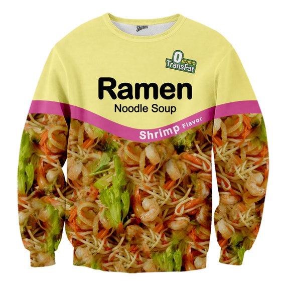 Shrimp Ramen Noodle Crewneck Sweater Etsy