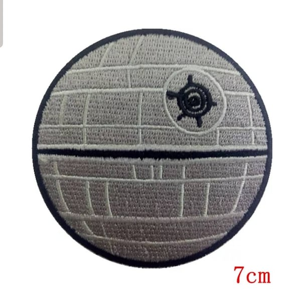 "Star Wars Death Star 4/"" Diameter Embroidered Iron on Patch"