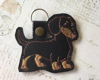 Dachshund Longhair Dog Acrylic Double-Sided Bag Purse Charm Zipper Pull Jewelry