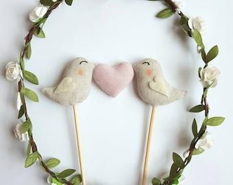 Love Birds Wedding Cake Topper - Birds With Pink Heart