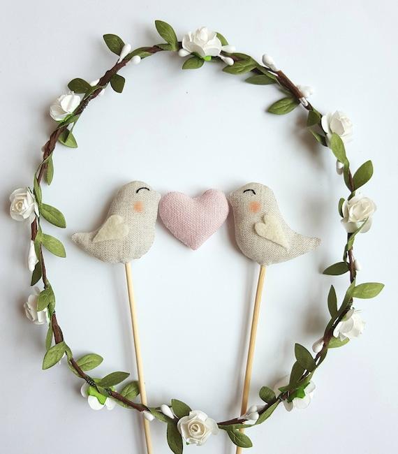 Love Birds Wedding Cake Topper Birds With Pink Heart   Etsy