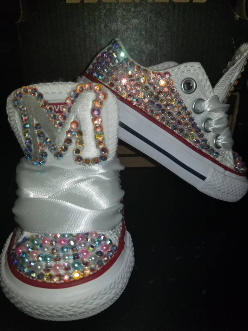57bbccd56170 Custom bling converse with initials rhinestone baby toddler