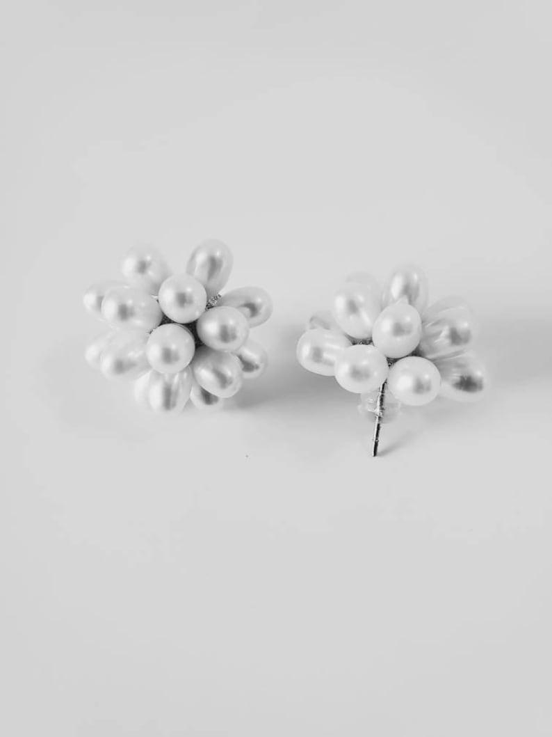 Freshwater Pearl Earrings White Stud Pearl Earrings Rice Pearl Earrings Flower Pearl Earrings Silver Pearl Earrings