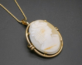 Victorian Georgian Shell Cameo Necklace Greek God Shell Cameo Sterling Silver Link Chain Necklace