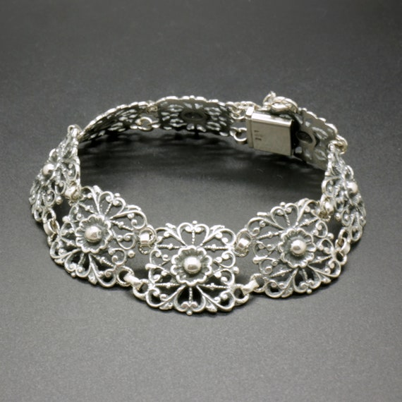 Antique Art Deco Solid Silver Marcasite Bracelet Pierced Link Panel German Ornate 1920s Vintage 13.39g 19cm 835 Womens Jewellery Jewelry