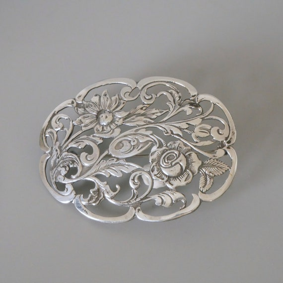 Openwork Flower Ornament Victorian  Edwardian Dutch Heritage Jewelry Hallmarked 835 Silver Large Oval Pin Antique Silver Brooch