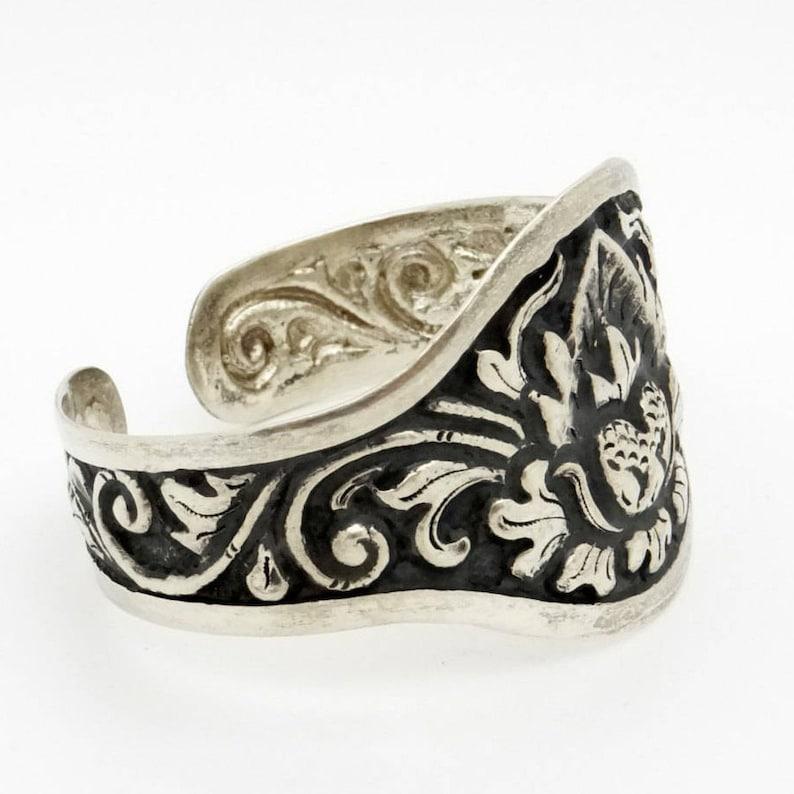 Antique Bracelet 800 Silver Cuff Bracelet Asian Art Deco Yogya Hammered Lotus Flower Decor Handcrafted 1930s Yogyakarta Artisan Jewelry
