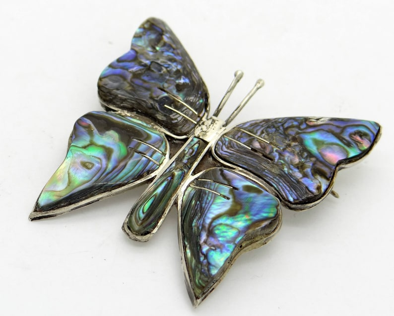 Fine Jewelry Pearl Signed 925 Sterling Silver Abalone Shell Bird Nature Pin A Wide Selection Of Colours And Designs