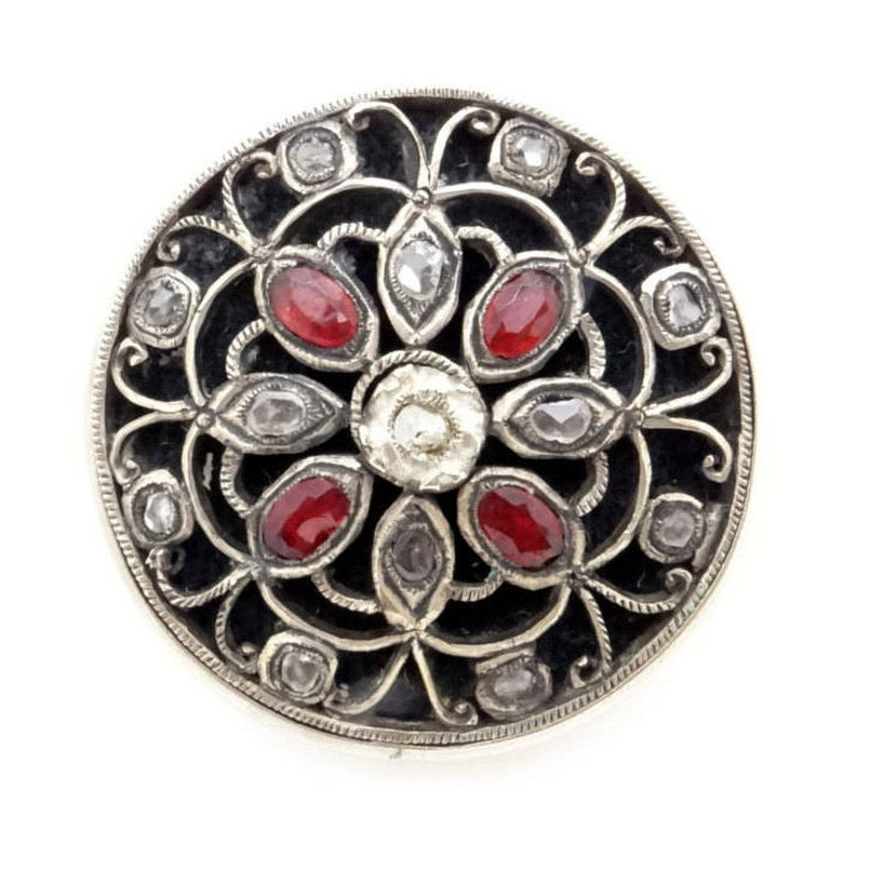 Antique Silver Metal /& Old Cut Diamond and Ruby Imitation Brooch 1900s Victorian Edwardian Costume Jewelry Hand Cut Rock Crystals