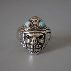 aviator skull ring for men made of sterling silver 925 biker style