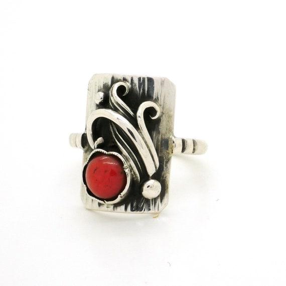 ae2aa549d68e20 Antique Coral Ring Naturalny Czerwony Koral I 835 Srebrny Etsy
