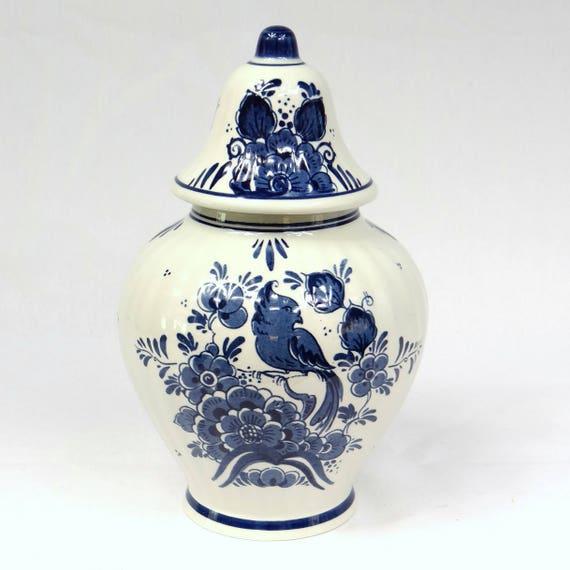 Delft Blue Vase H22cm Bird Decor Lidded Vase Handpainted Etsy