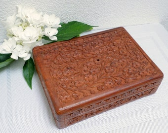 Vintage wooden box with hand carved flower ornament, rustic trinket box