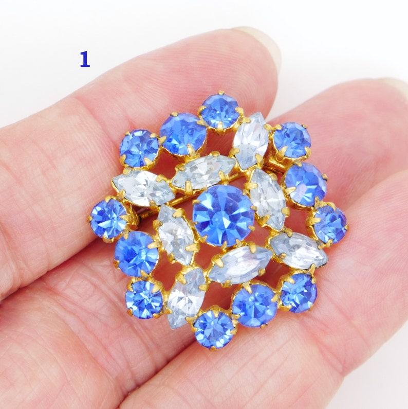 Sapphire Blue Strass Crystal Pin Blue Glass Rhinestone Brooch Vintage Wedding Something Blue 1950s 1960s Mid Century Costume Jewelry