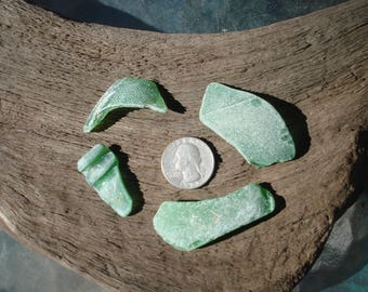 4 Pieces of Green Genuine Sea Glass