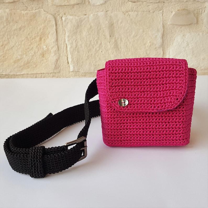 Fuchsia cord pouchBlack beltclutch bagwomen/'s accessoryWomen/'s gifthandmadeMade in Italy