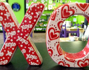Decorative XO Letters, Valentine's Day Decoration, Home Decor, Standing Decorative Letters, Hugs and Kisses