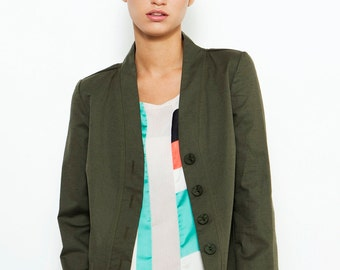 SALE! Green Jacket , Spring Jacket , Tailored Jacket , Office Wear , Olive Green Jacket , Classic Jacket , Green Blazer