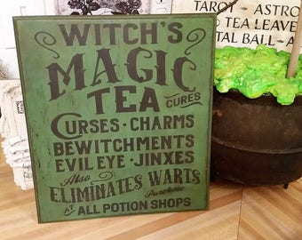 Wood Halloween Sign, Halloween Decoration, Halloween Decor, Halloween Witch Sign, Witch Magic Tea Sign, Halloween Art, Witch Sign, Magic