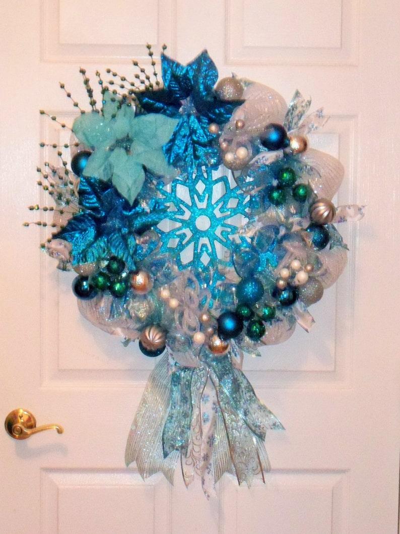 Snowflake Wreath Handmade Snowflake Mesh Wreath Blue Snowflake Wreath Handmade Christmas Wreath Ice Blue Snowflake Wreath