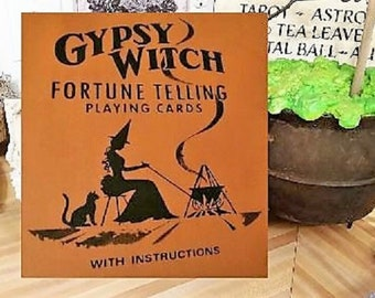 Wood Halloween Sign, Halloween Decoration, Halloween Decor, Halloween Witch Sign, Gypsy Witch Fortune Telling Cards, Halloween Art, Fortune
