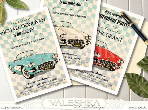 Retirement Party Invitation Vintage Corvette Beautiful Classic