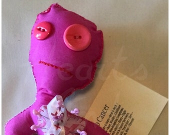 Sticking it to Cancer Voodoo Doll - Pink Ribbon Breast Cancer